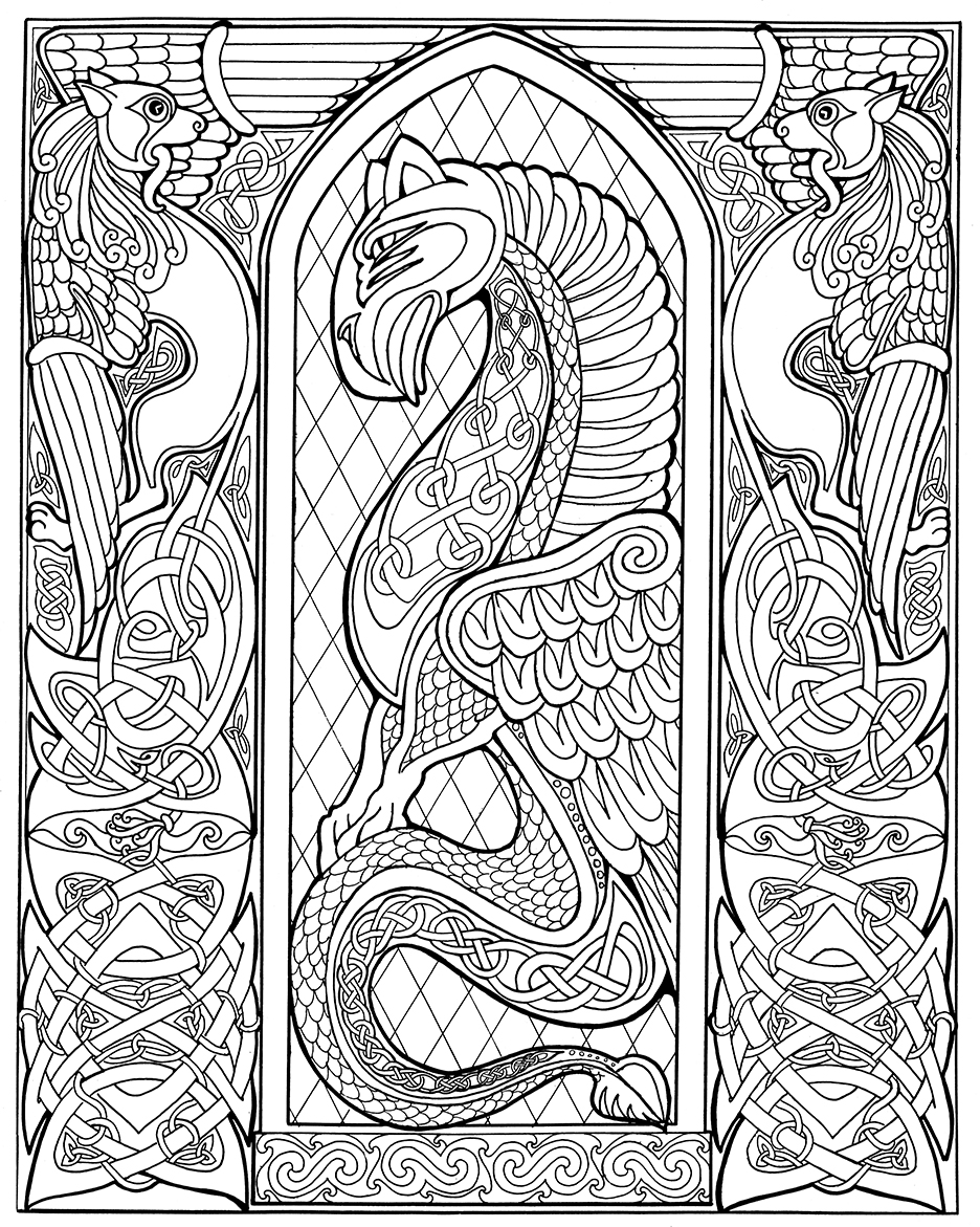celtic dragon outlinebwsm - Celtic Patterns To Colour