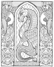 Celtic Dragon (pen & ink, outline version)