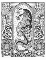 Celtic Dragon (pen & ink, embellished version)