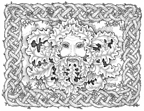 Celtic Green Man BW
