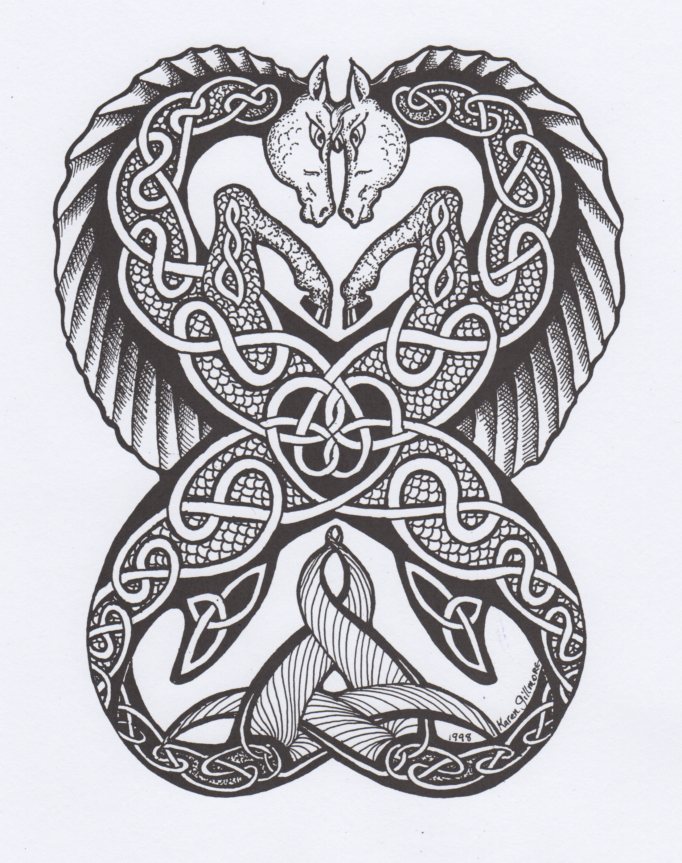 Celtic Seahorses Pen And Ink