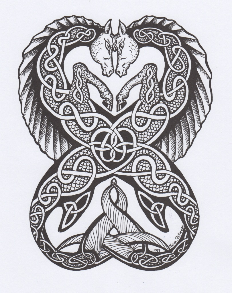 Celtic Seahorses (pen and ink)