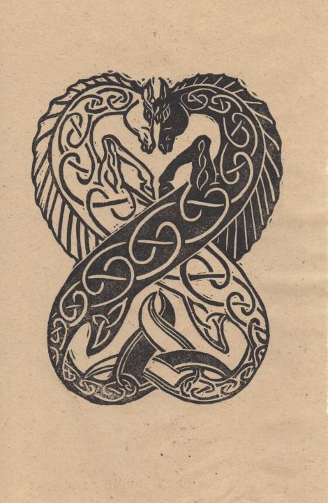 Celtic seahorses inocut