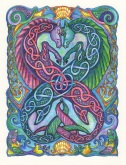 Celtic Seahorses (pen & ink, watercolour, coloured pencil)