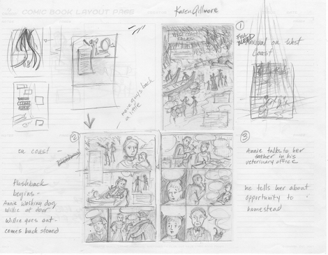 "Thumbnail sketches for ""Cougar Annie"" comic, pages 1-3"