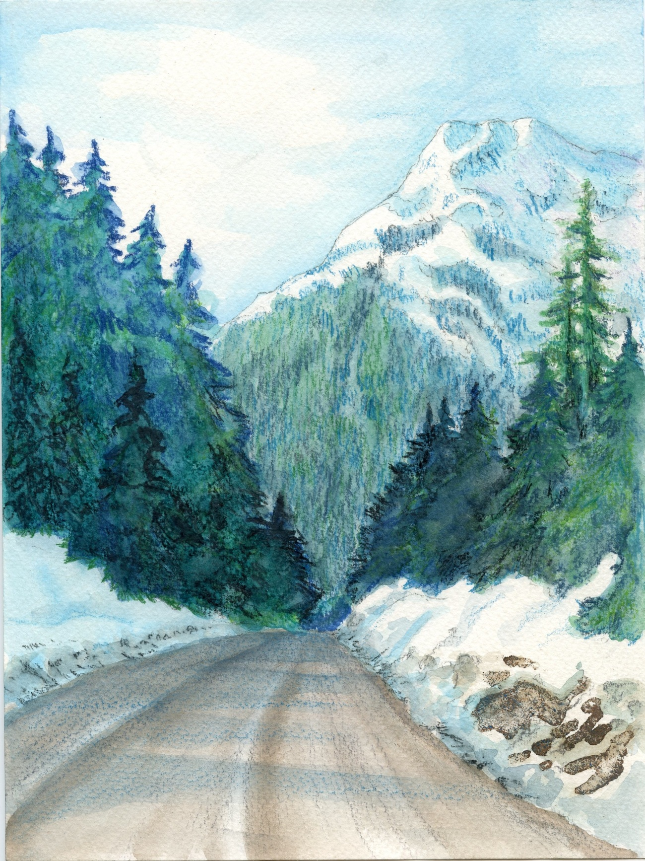 Landscape drawing with watercolored pencils. Credit to