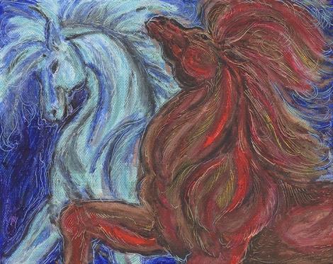 sm.oil pastel horses