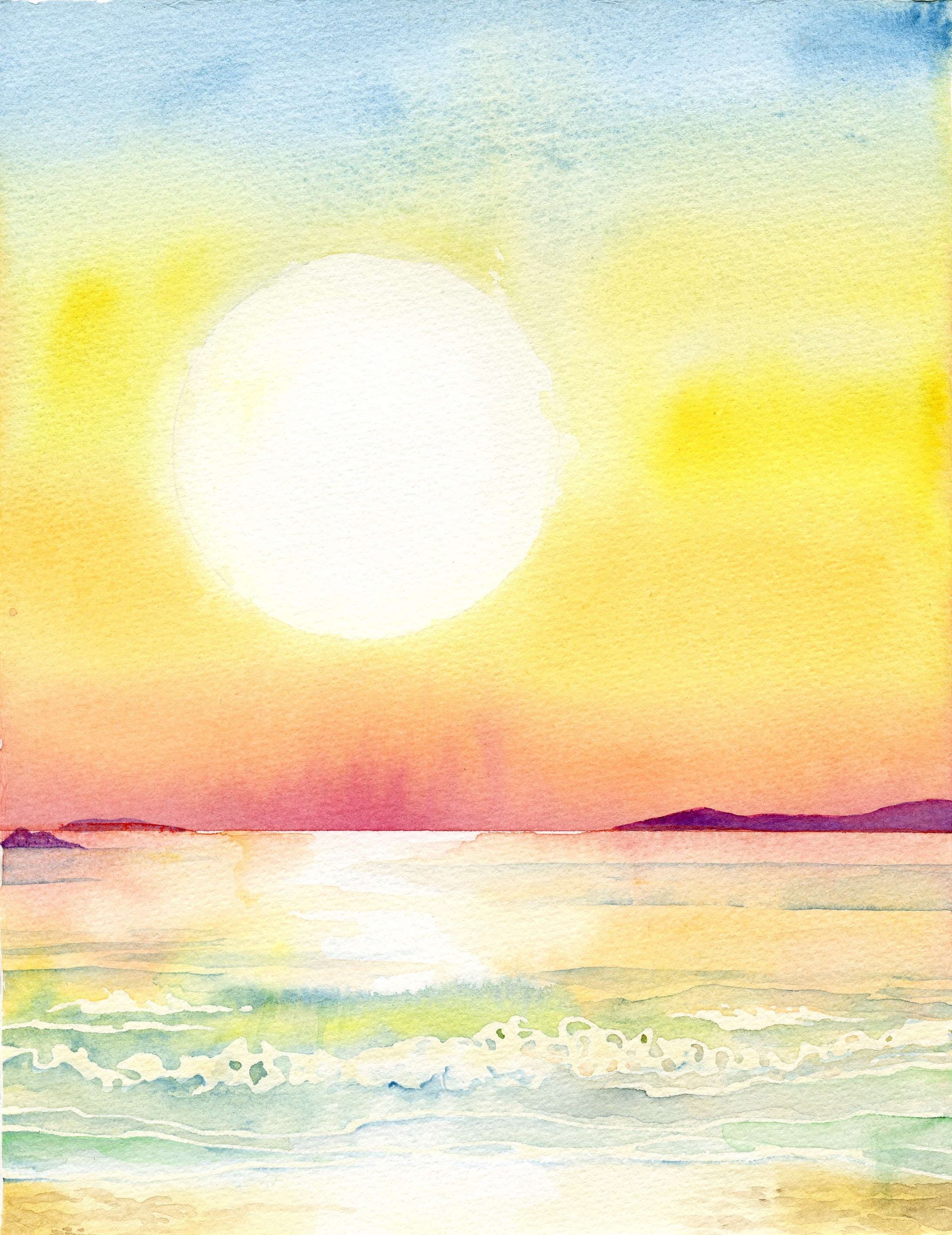 how to leave white clouds when watercolour painting