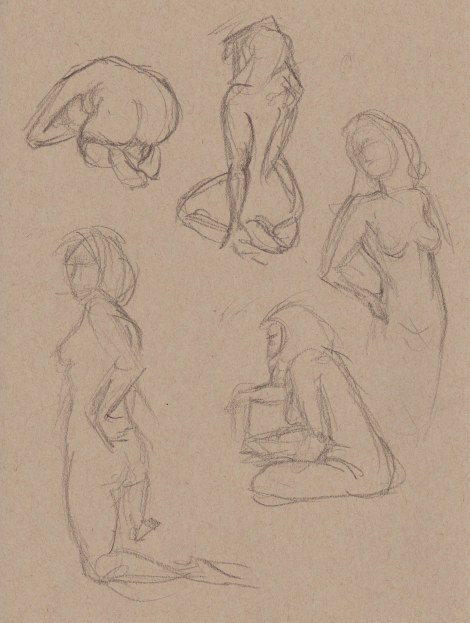 One minute gesture poses. These are pretty exciting to do when you get the hang of it — just trying to capture the essence of the pose in as few lines as possible.