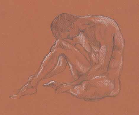 Man Forming a Triangle — coloured pencils on toned paper. Going through my sketches, I was amused to see how many similar poses I've drawn over the years — there are only so many ways the human body can fold up, after all. I thought this drawing made an interesting comparison with the previous one.