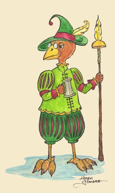 Little Bird Guy — ink, watercolour pencil, digital background