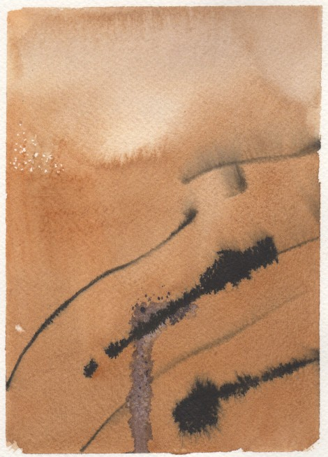 India ink drawn into a watercolour wash. It spread differently than watercolour would, having a heavy, oily nature due to the lacquer in it.