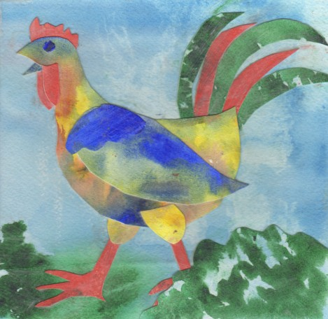 This funky chicken was a quick demo to show students that tearing up their paintings could be fun. It's not a masterpiece, but it does have a certain… something.