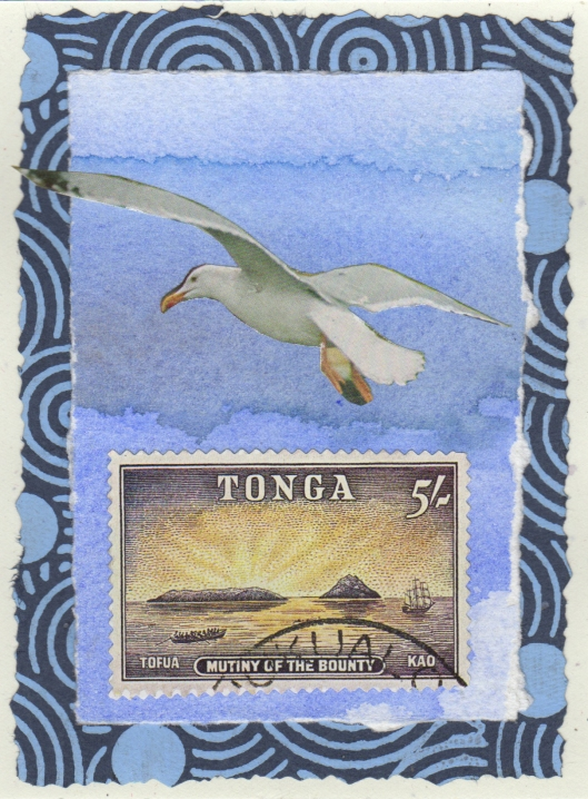 Tonga — stamp, Japanese gift wrap, photo, hand decorated paper