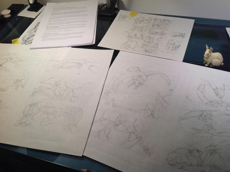 Full-size pencil sketches for the graphic novel. These will be transferred to watercolour paper to be inked and painted. The little bunny is one of my collection of animal models that I keep handy for creature reference.