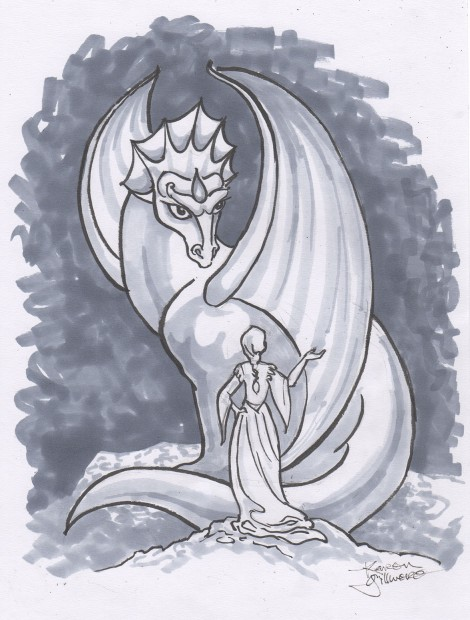 Dragon and Lady — there is a discussion of some sort going on here, but I couldn't come up with anything to go in a speech balloon, so I'll leave it to your imagination!