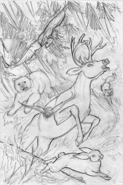 The opening page in the story is a forest fire, with animals fleeing. There will be a lot of stark silhouette against bright oranges and reds in this scene — for now I'm just working out the placement of the animals and their outlines. Next comes a value sketch.