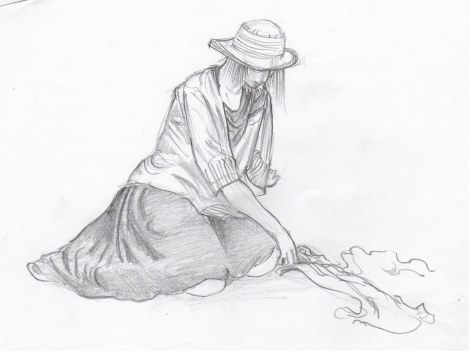 Girl in a Hat — drawing drapery and clothes is way more challenging than just drawing the figure. The underlying structure has to be right, and experience drawing the nude figure is a tremendous help in this. Practicing just drawing heaps of cloth helps too! One of these days I'm going to procrastinate doing the laundry by drawing the basket full of clothes!