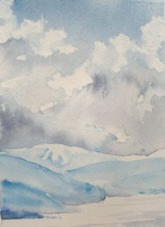 """Storm Building"" — I used a paper towel to lift colour out of a solid sky wash for the clouds, then dripped in a bit of grey, then more water for the backwashes."