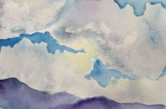 """The Sky's the Limit"" — a tiny painting, 4x6 inches, in which I demonstrated lifting wet paint to reveal the light."
