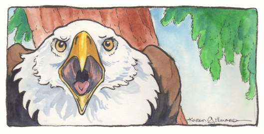 An irate mama eagle tells Spam her troubles. Ink brush, watercolour, pigma micron pen on Opus Watermedia paper.