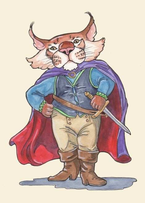 Feline Swashbuckler — Pigma Micron pen, watercolour, Pitt White pen