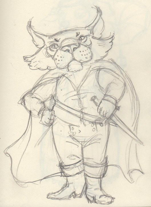 Feline Swashbuckler sketch — pencil