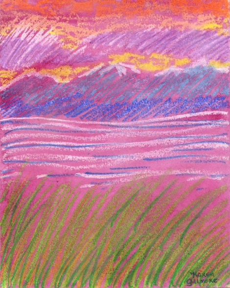"""Looking South"" — an example of oil pastel resist. I made a loose drawing in oil pastels, leaving lots of space between lines, and then flooded the paper with magenta watercolour. The oil pastel resisted the watercolour, so it wasn't coloured over."