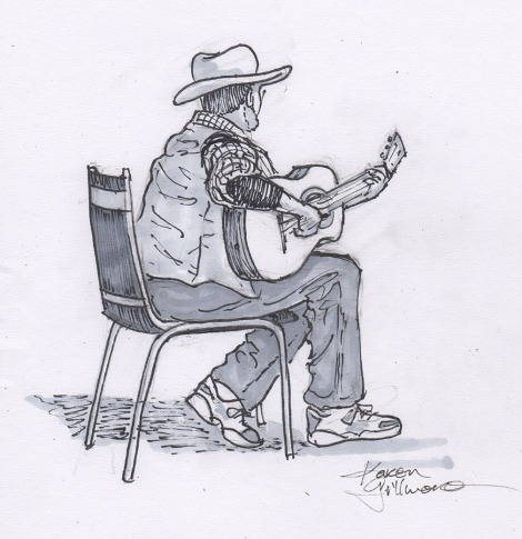 "Mike playing guitar — Last night my band went to a concert up in Nanaimo, about a two hour drive from Victoria. Our friends, who are in a band called ""Bob"", were playing at the local folk club. We played a few songs on the open stage, then I settled in to sketch my friends. However, I was seated at the very side, and the only member of Bob that I could see well enough to sketch was Mike. It's a real challenge to sketch people who are moving around, and while there are some kind of strange things about this drawing, Mike liked it and gave me permission to post it!"