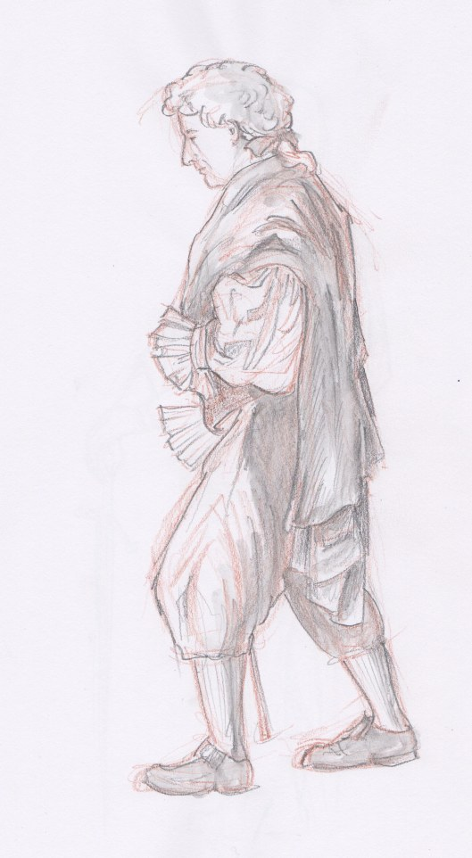 M'Lord Has Lost His Horse — fifteen minute pose — coloured pencil and water-soluble graphite pencil. A good model can evoke emotions with his or her pose. This poor aristocrat has to trudge all the way home!