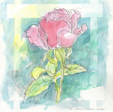 The splash of colour method. I was also demonstrating masking with masking tape on this one, which made the impression of a trellis behind the rose. Notice that I made very little attempt to stay in the lines here.