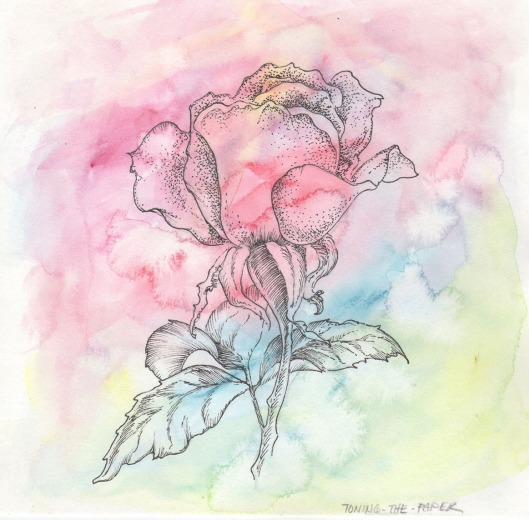 Toning the Paper — here I just dropped a lot of colours into the wet paper and allowed them to mingle. Fun to watch! The rose could have been further coloured to bring it out as a solid shape, but I rather liked it just as a superimposed drawing.