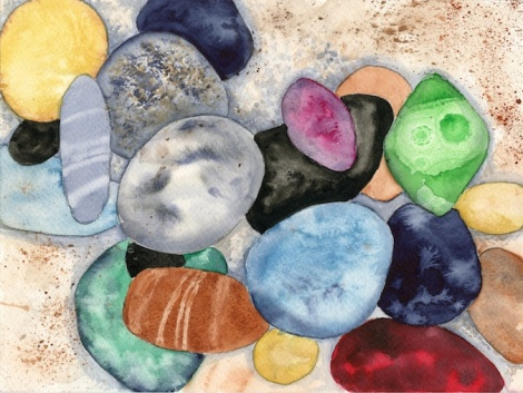 """Rainbow Pebbles"" — many of the techniques described here are used in this painting"