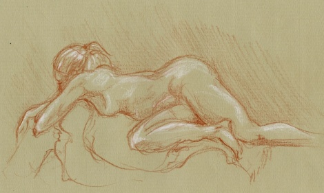 Relaxing Woman — burnt sienna and white coloured pencils on toned paper; a fifteen minute pose