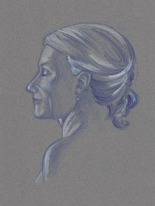 Woman in Blue — indigo and white Prismacolor pencils on toned paper
