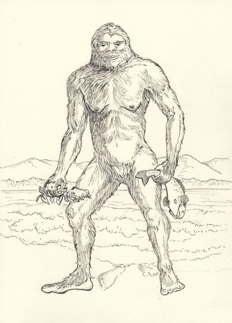 Sasquatch — ink, mainly drawn with brush, background with pigma pen.