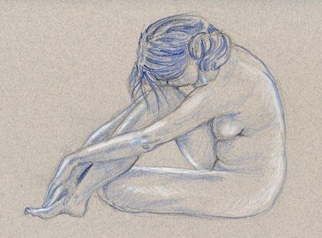 The Blues — Indigo and white coloured pencils on toned paper _ ten minute pose