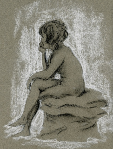 """Young Woman Thinking Hard"" — graphite and chalk on toned paper — I couldn't resist putting in another similar pose, and titling it like the first drawing!"