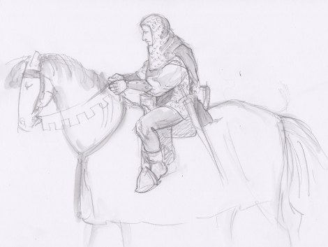 """Sir Michael"" — this one didn't make it into the life drawing post the other day, but it makes me laugh so I'm posting it here. The model posed on a chair, saying we could draw him an imaginary horse. There wasn't much time after I got the knight sketched (yes, he really had armour), so the horse is pretty imaginary indeed!"