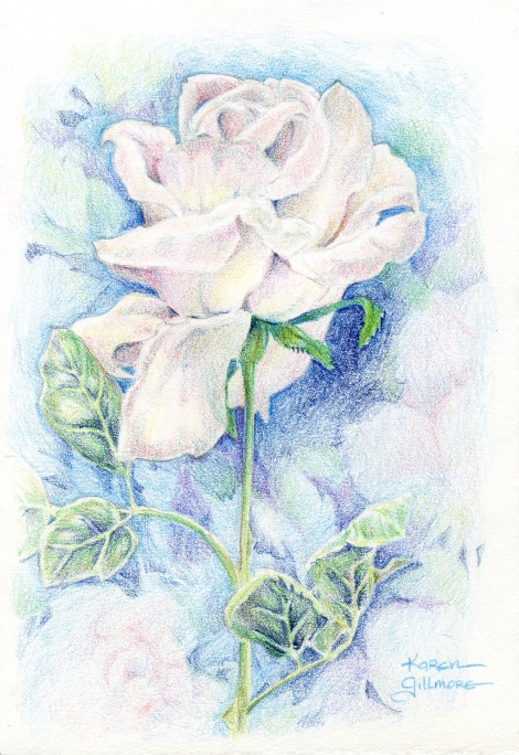 """White Rose"" — I took a bunch of white silk roses into a class I was teaching one day, and we all had a good time trying to make them look natural, adding backgrounds and suggestions of colour."