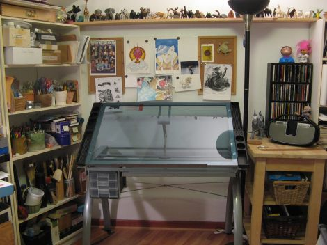 My futuristic, still-sort-of-new, studio table. At the time I took this pic it was the only clean spot in the studio...