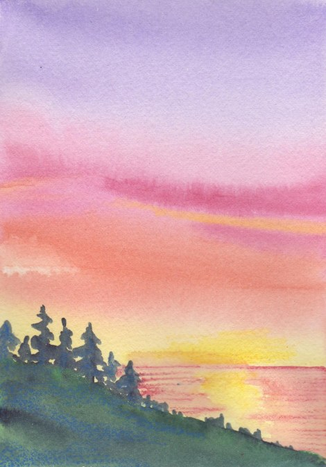 This demo was to blend a nice sunset wash, and to show how to make very quick trees with brush scribbles.