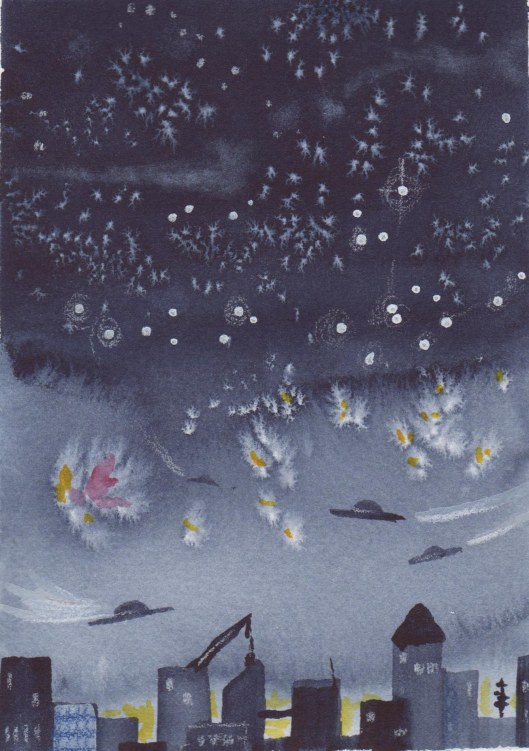 The UFOs are coming! Or maybe they are flying hats. Suggested by one of the students, I thought it was a great idea. This demo used salt and gouache to make stars and the explosions (or maybe they are fireworks). The city is just simple brushstrokes with a flat brush.