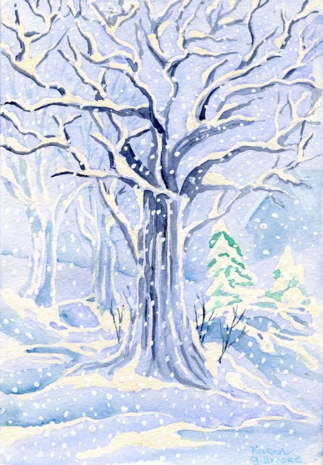 """Winter Tree"" — a Christmas card I did for a friend; the white was all masked off with masking fluid, after which I could paint freely, knowing all that lovely snow would be preserved in pristine white paper."