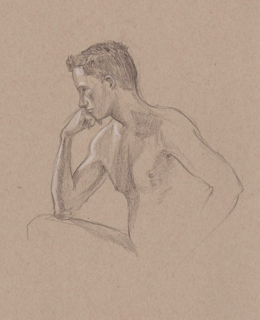 Young Man Thinking Hard — graphite on toned paper The model expressed in his pose the focus that it took to draw him!