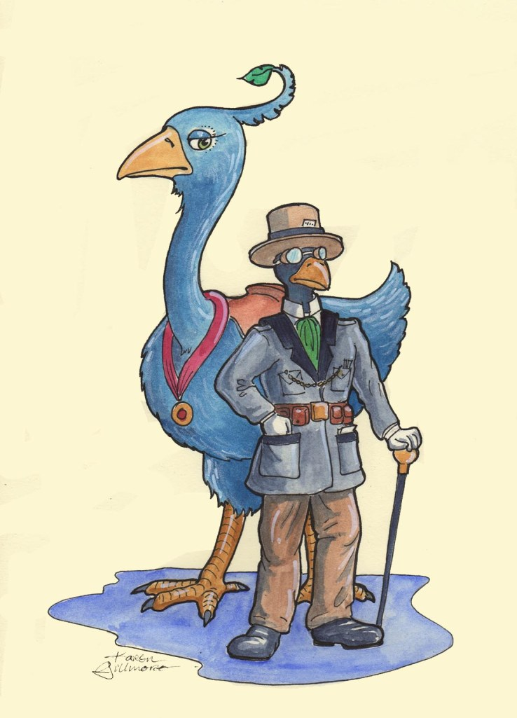 Miss Ophelia Bluefeather and Mister Cecil Ravensfield — ink, watercolour, white marker, white pencil, digital background; a famous pair of scientist-adventurers, known for their daring exploits on the frontiers of archaeology and natural history. They are also working on a time-travel device.