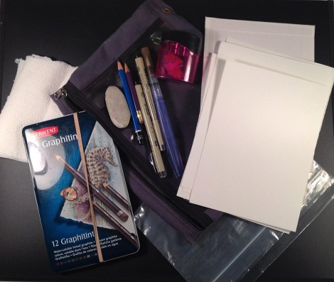 One version of my toolkit for outdoor sketching