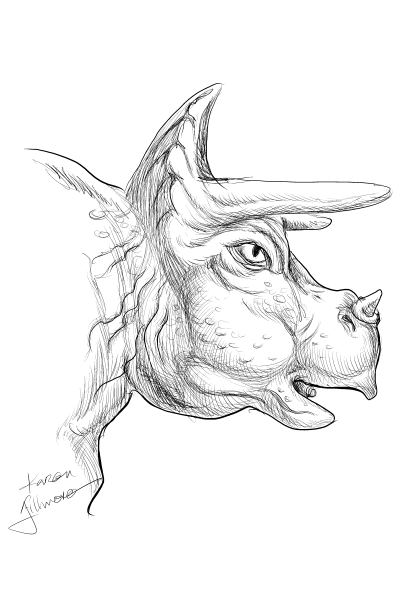 Toy Triceratops — digital drawing