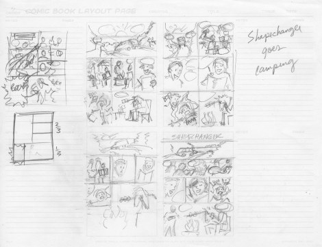 The Thumbnails. These are each about 2x3 inches. My teacher proposed the one on the upper left, and that's what I ended up doing. He always comes up with better layouts!