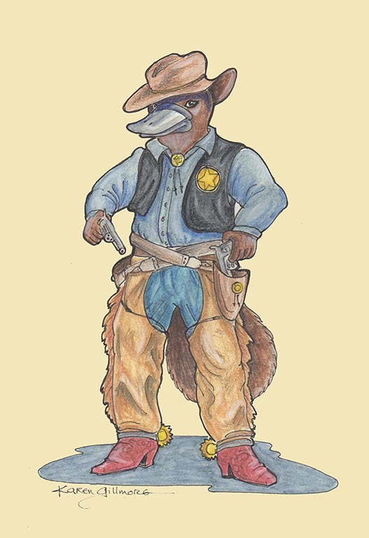 Sheriff Bill Platypus — pen and ink, watercolour pencil, coloured pencil. Sheriff Bill is on the side of justice, and sometimes of law and order.
